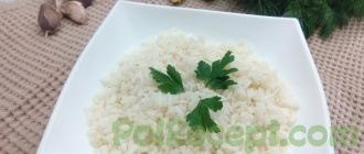 готовый рис на столе