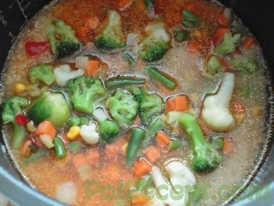 рис и овощи с водой