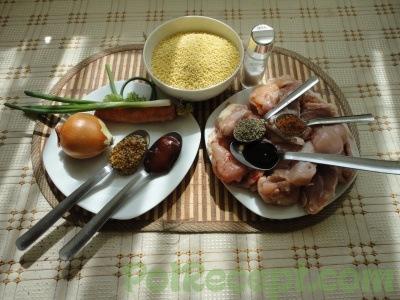 Пшенно-рисовая каша с мясом и помидором - рецепт пошаговый с фото