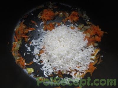 подготовленные овощи и рис