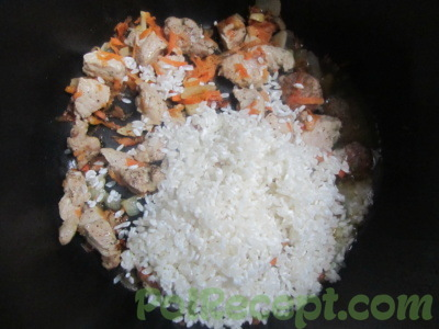 морковь и чеснок с мясом и рисом