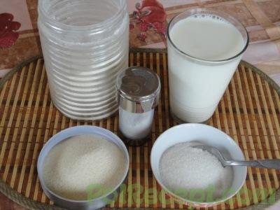 манная крупа, сахар, молоко, мука